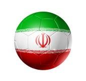 Boule du football du football avec le drapeau de l'Iran Images stock