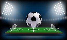 Boule du terrain de jeu 3d du football ou du football Jeu de sport Vecteur de fond de projecteur et de tableau indicateur de stad Image libre de droits