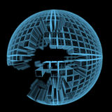 Boule en construction faite de pièces rectangulaires (transparents bleus de rayon X 3D) Image stock