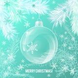 Boule en verre transparente de Noël sur le contexte blanc d'arbre Images libres de droits