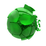 Boule en verre verte cassée Photographie stock