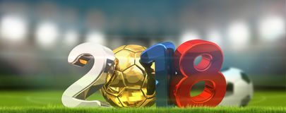boule 2018 et stade de football du football du football Russie Image libre de droits