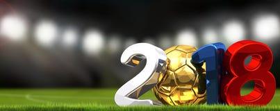 boule 2018 et stade de football du football du football Russie Images libres de droits