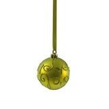 Boule jaune de Noël d'isolement la nouvelle année de fond blanc Images stock