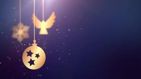 Boule mobile animée de babiole tombant vers le bas fond saisonnier de fête de bleu de texte d'attente de célébration de nouvelle  banque de vidéos
