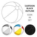 Boule multicolore d'Inable Le repos d'été choisissent l'icône dans l'illustration d'actions de symbole de vecteur de style de ban Photos libres de droits