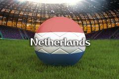 Boule néerlandaise d'équipe de football sur le grand fond de stade Concept néerlandais de concurrence d'équipe Drapeau néerlandai illustration de vecteur