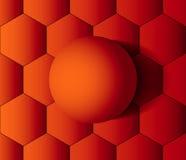 Boule orange sur des nids d'abeilles Photographie stock libre de droits