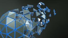 Boule polygonale de la science fiction avec le rendu bleu des bords 3D illustration libre de droits