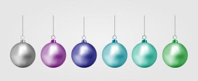 Boule réaliste de Noël de couleur Jouet de nouvelle année illustration de vecteur