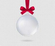 Boule réaliste transparente de Noël D'isolement Vecteur illustration stock
