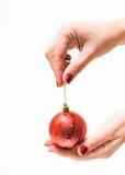 Boule ronde rouge de Noël dans la main femelle Images libres de droits