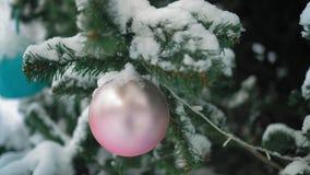 Boule rose en gros plan et couverte de neige accrochant sur un arbre de vacances en parc de ville banque de vidéos