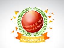 Boule rouge brillante avec la guirlande de laurier pour le cricket Photo stock