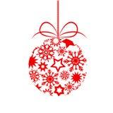 Boule rouge d'arbre de Noël de décor avec des flocons de neige d'american national standard d'étoiles pour le votre Photo libre de droits