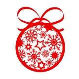Boule rouge d'arbre de Noël de décor avec des flocons de neige d'american national standard d'étoiles pour le votre illustration stock