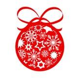 Boule rouge d'arbre de Noël de décor avec des flocons de neige d'american national standard d'étoiles pour le votre illustration de vecteur