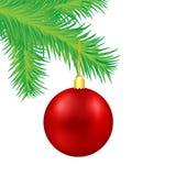 Boule rouge de décoration de Noël sur la branche d'arbre verte de sapin, vecteur i illustration libre de droits