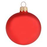 Boule rouge de décoration de Noël d'isolement sur le blanc Images libres de droits