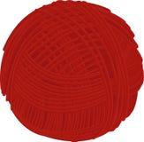 Boule rouge de fil de laine d'isolement sur le blanc Photographie stock libre de droits
