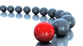 Boule rouge et boules noires Conception de la conduite illustrat 3d Photo libre de droits