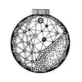 Boule tirée par la main avec le modèle géométrique Image libre de droits