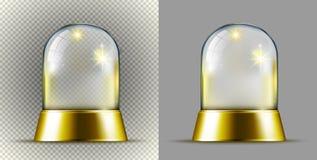 Boule transparente de neige d'or réaliste illustration libre de droits