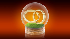 Boule transparente de sphère avec des anneaux de mariage à l'intérieur rendu 3d rendu 3d Photographie stock libre de droits