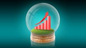 Boule transparente de sphère avec le graphique en hausse à l'intérieur rendu 3d Images stock
