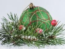 Boule verte de Noël et branches impeccables dans la neige photos stock