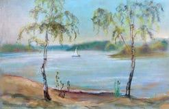 Bouleaux plus d'à la rivière Illustration Libre de Droits