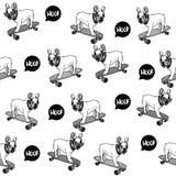 Bouledogue français sur le modèle sans couture de planche à roulettes illustration libre de droits