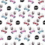 Bouledogue français sur le modèle sans couture de planche à roulettes illustration stock