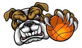 Bouledogue tenant la mascotte de sports de boule de basket-ball Photo libre de droits