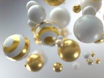 Boules blanches et d'or de Noël illustration libre de droits