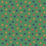 Boules bleues, rouges, oranges de Noël sur un fond vert Configuration sans joint de vecteur illustration de vecteur