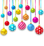 Boules colorées d'Ornamental de Noël de collection Images stock