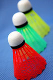 Boules colorées de badminton Photo stock