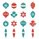 Boules colorées de Noël réglées illustration de vecteur