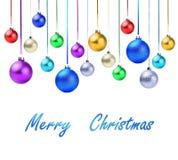 Boules colorées de vacances de Noël avec le texte témoin Image stock