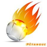 Boules com fogo vermelho do tom do amarelo alaranjado no fundo branco projeto do logotipo da bola do esporte logotipo do petanque imagem de stock royalty free