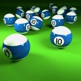Boules de billard bleues et blanches numéro dix Photos libres de droits