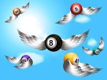 Boules de bingo-test de vol avec le fond d'ailes Photographie stock