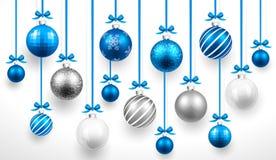 Boules de bleu de Noël Vecteur Photographie stock libre de droits