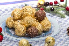 Boules de bonbons au chocolat Photos stock