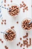 Boules de céréale de chocolat avec du lait et des pailles Photo stock
