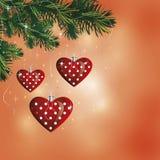 Boules de coeur de Noël Photographie stock