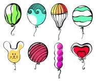 Boules de différentes formes et couleurs Tiré par la main, sur un fond blanc Illustration de vecteur Photo libre de droits