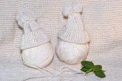 Boules de fil Aiguilles de Knit Photos libres de droits