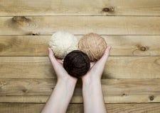 Boules de fil de laine Images stock